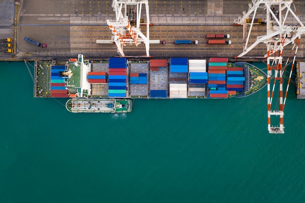 Business service and industry shipping cargo containers transportation logistics by the sea