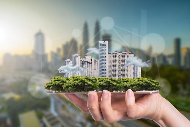 Бизнес-концепция умного города для роста и успеха с вашими технологиями.