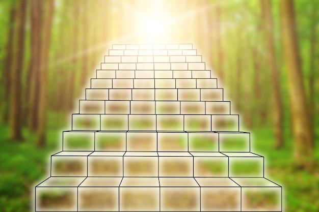 Business staircase of success and advancement in a forest