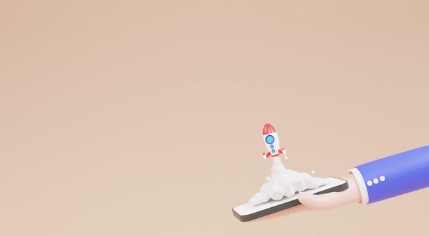 비즈니스 시작 개념, 스마트폰에서 로켓 발사를 들고 만화 사업가 캐릭터 손. 3d 그림