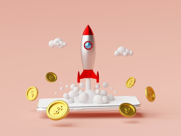 Business start-up concept rocket launching from smartphone with dollar coin 3d rendering