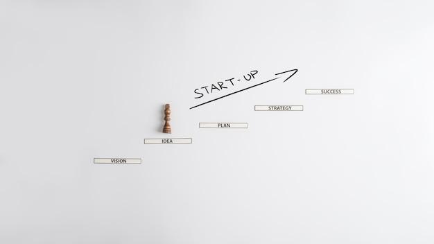 事業の立ち上げ-新しいビジネスでの成功に向けて紙の駒を登るチェスの駒