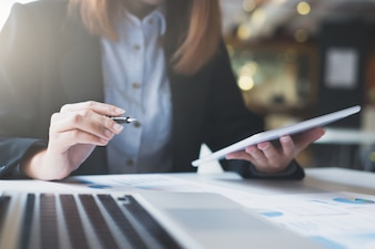 Business startup works on the digital online infomation.