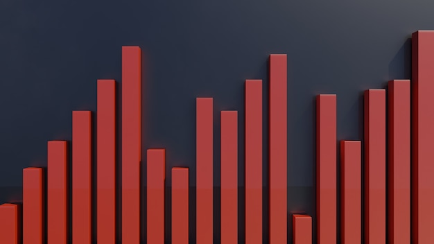 Гистограмма или диаграмма деловой статистики в 3d представляют
