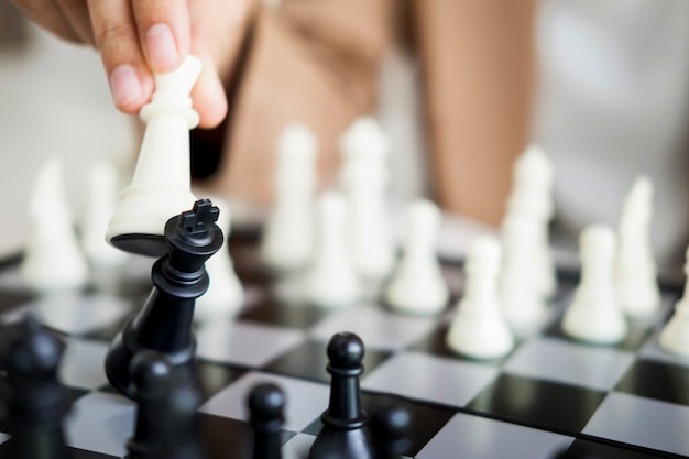 Business strategic formation in the chess game king is checkmated game over