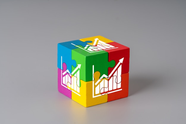 Business & strategy on colorful jigsaw puzzle cube