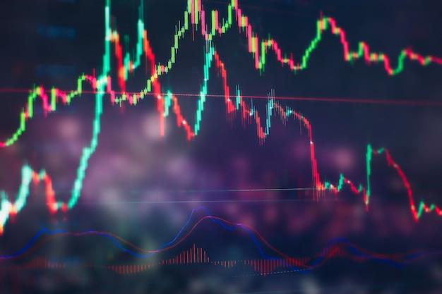 비즈니스 성공과 성장 개념입니다. 디지털 화면의 주식 시장 비즈니스 그래프 차트입니다. 외환 시장, 금 시장 및 원유 시장