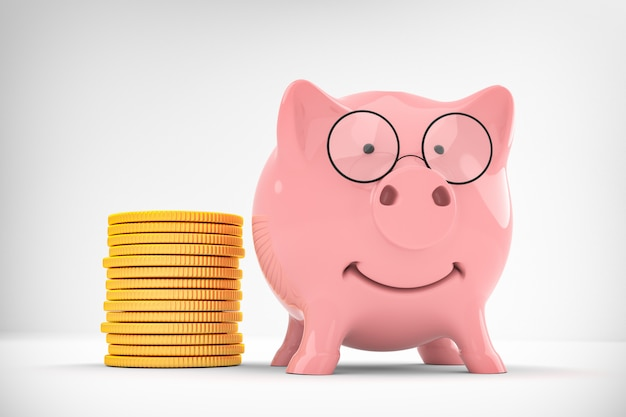 Business success metaphor - pink piggy bank witn gold coin isolated 3d illustration