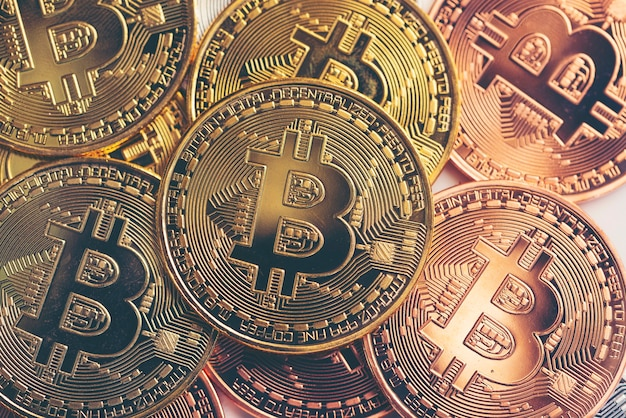 Business success and money concept with bitcoins