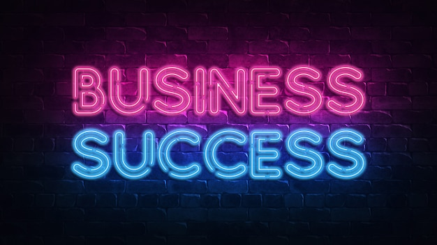 Business success neon sign.