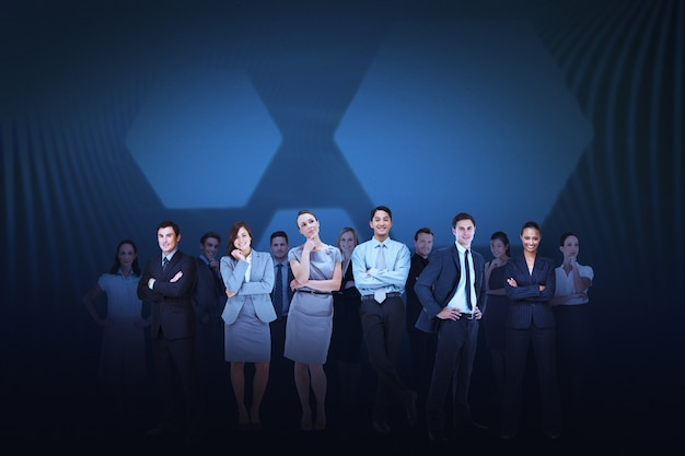 Business team against blue hexagon background