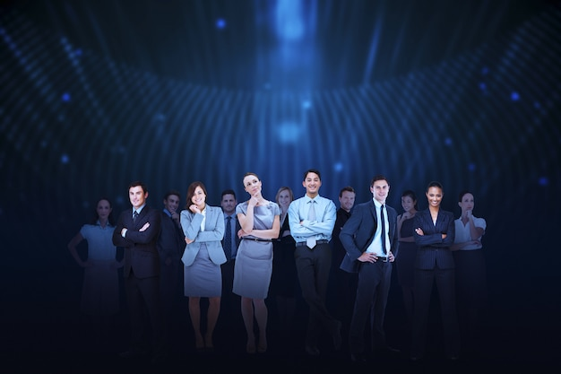 Business team against blue light background