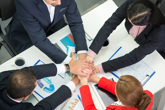 Business team are showing unity with their hands together.