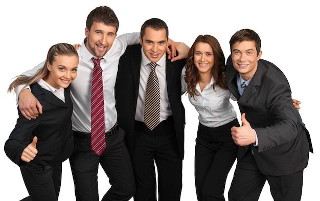 Business team celebrating success on background