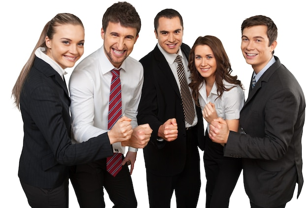 バックグラウンドで成功を祝うビジネスチーム