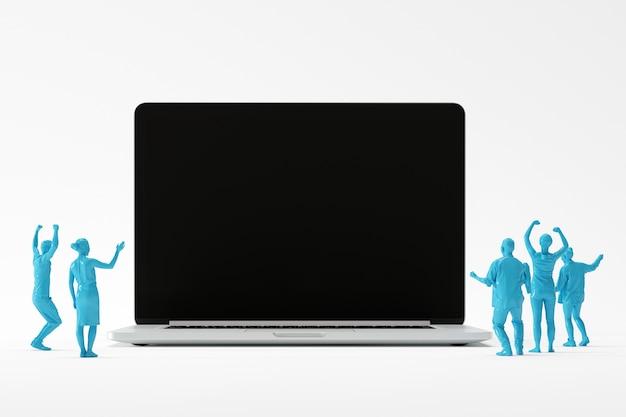 비즈니스 팀 copyspace 아이디어에 대 한 노트북을보고 행복 한 느낌