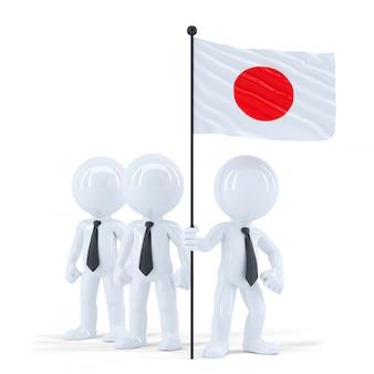 日本の国旗を保持しているビジネスチーム。分離されました。クリッピングパスが含まれています