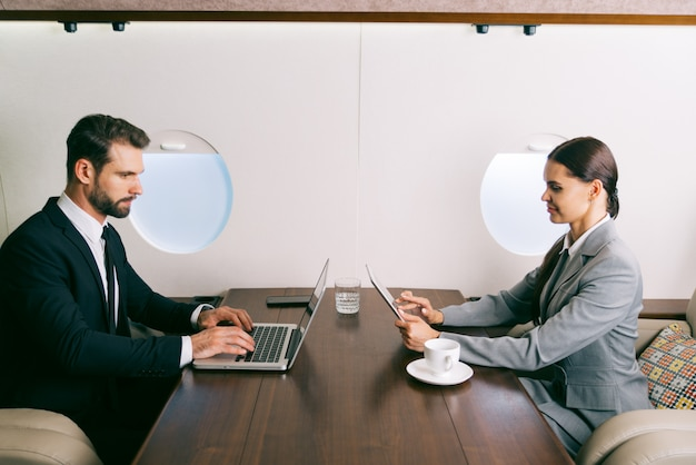 Business team on private jet