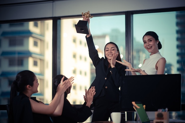 Business team success achievement arm raised