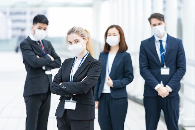 Business team wearing masks