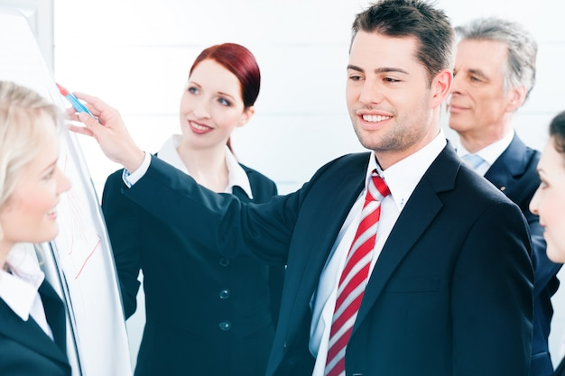 Бизнес-команда с лидером в представлении офиса
