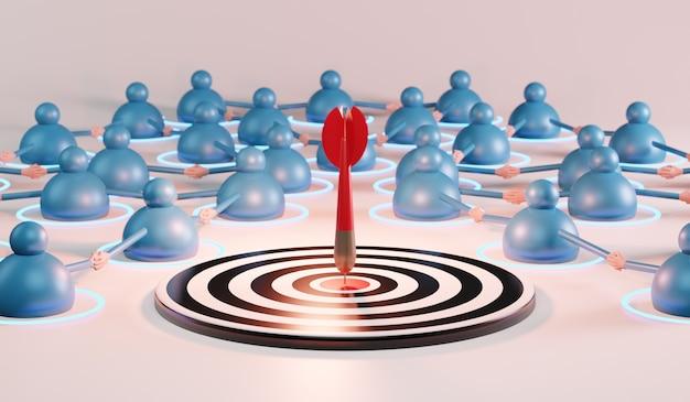 빨간색 화살표가 중심 목표에 도달하는 비즈니스 팀. 성공 비즈니스 개념입니다. 3d 렌더링