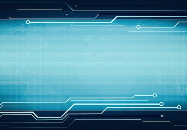 Business technology blue virtual user interface banner