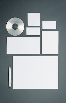 Business template with cards, papers, disk