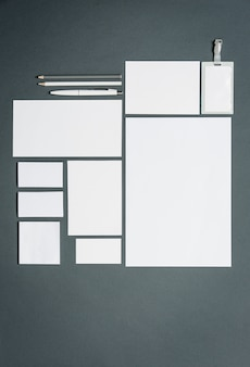 Business template with cards, papers, pen. gray space.