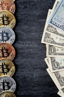 Business top view design concept of cryptocurrency bitcoin with usd dollar