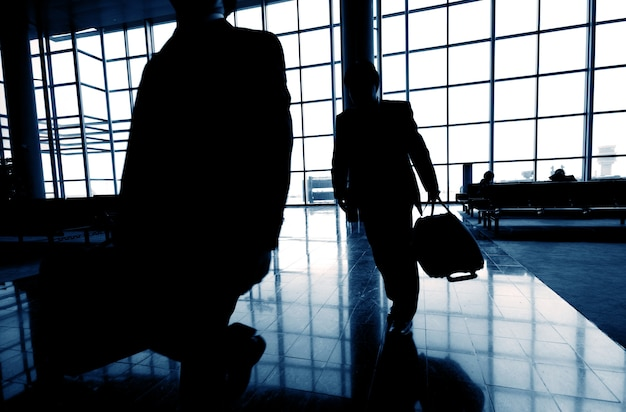 Business travelers at an airport