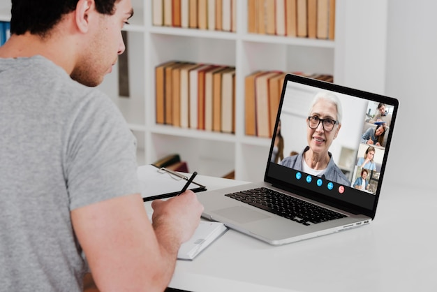 Business video chat on laptop
