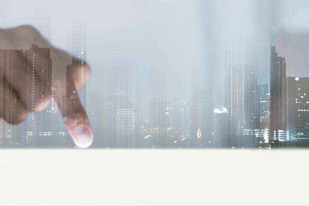 스마트 시티 디지털 리믹스 아래쪽을 가리키는 비즈니스 비전 배경 손가락