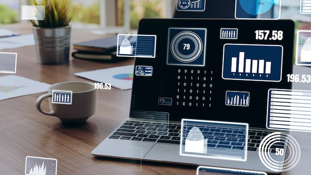 Business visual data analysis technology by creative computer software