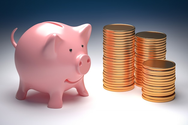 Business wealth metaphor - pink piggy bank and gold coins 3d illustration