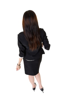 Business woman back, black hair lady isolated over white.