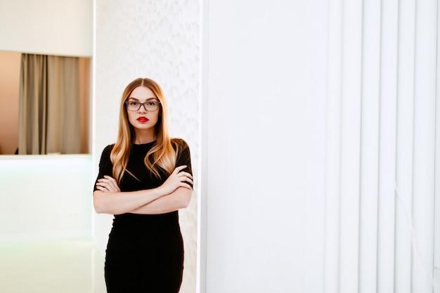Business woman in black dress
