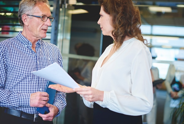 Business woman explaining project to colleague