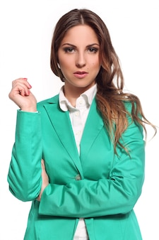 Business woman in green suit