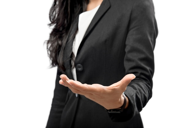 Business woman hand with open palm for copyspace area