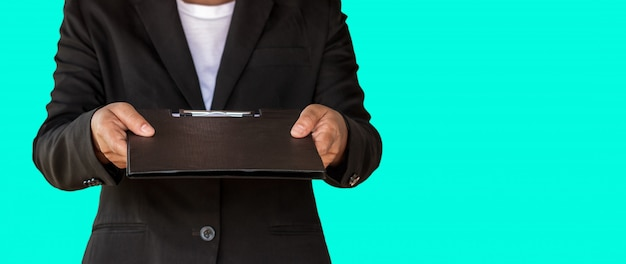 Business woman handed document file to customer