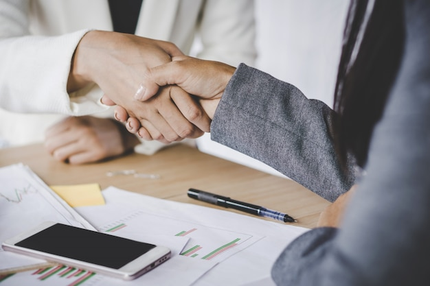 Business woman handshake agree on project