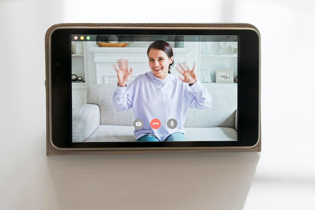 Business woman having a video call