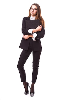 Business woman holding folder, isolated on white wall