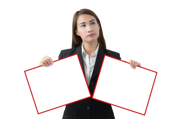 Business woman holding two banner isolated