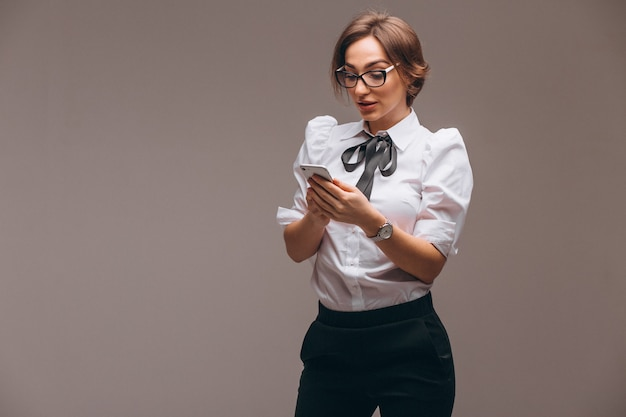 Business woman isolated talking on the phone