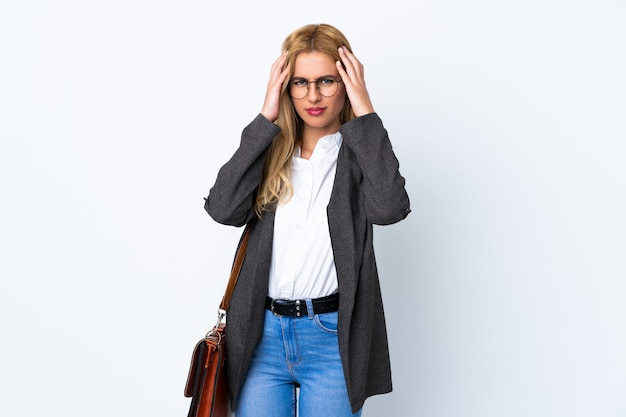 Business woman over isolated white unhappy and frustrated with something. negative facial expression