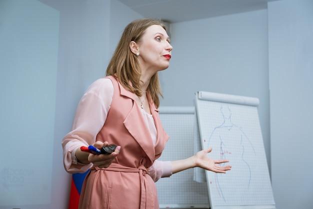 Деловая женщина, ведущая бизнес-тренинг с маркером в руке