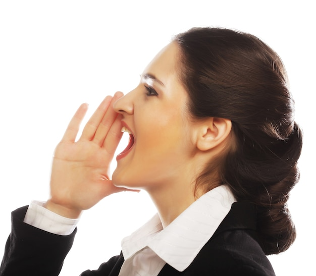 Business woman making silence sign