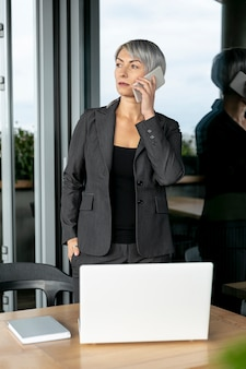 Business woman at office working